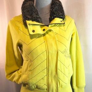Fox Warm Yellow Faux Fur Zip-up Jacket w/ Pockets
